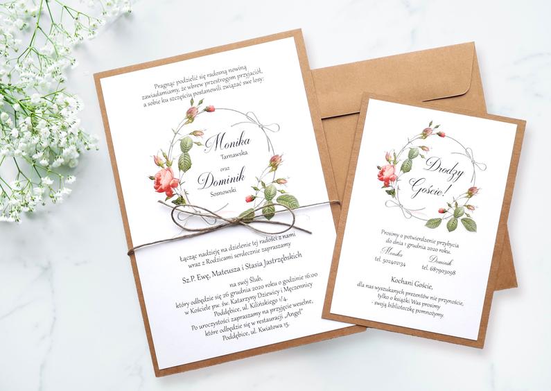Rustykalne zaproszenia ślubne ze sznurkiem NE-07 - Delikatny wianek z róż